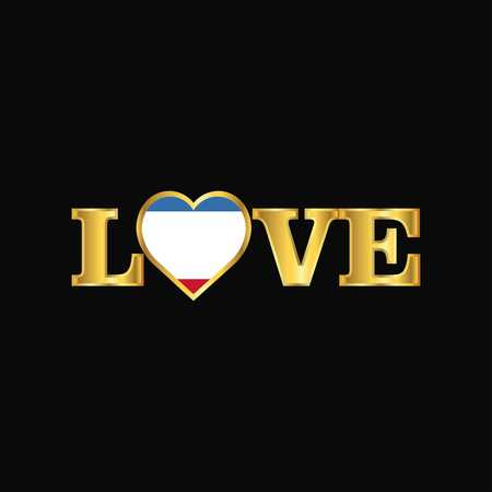 Golden Love typography Crimea flag design vector
