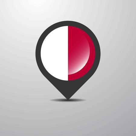 Malta Map Pin Vektoros illusztráció