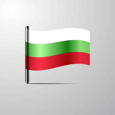 Bulgaria waving Shiny Flag design vector Illustration