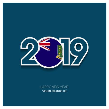 2019 Virgin Islands UK Typography, Happy New Year Background Çizim