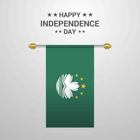 Macau Independence day hanging flag background Illustration