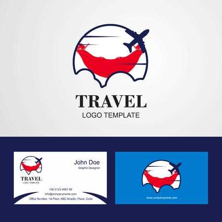 Travel Ecuador Flag Logo and Visiting Card Design