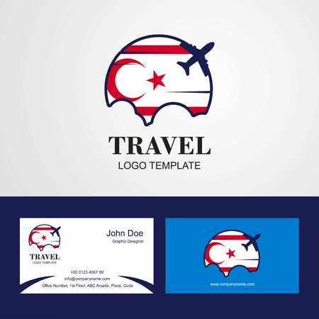 Travel Northern Cyprus Flag Logo and Visiting Card Design