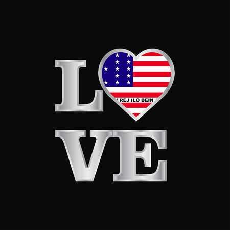 Love typography Bikini Atoll flag design vector beautiful lettering Stock Illustratie