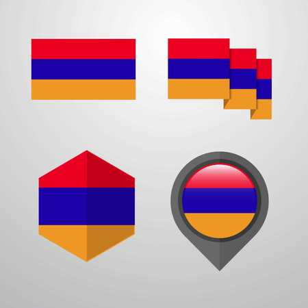 Armenia flag design set vector