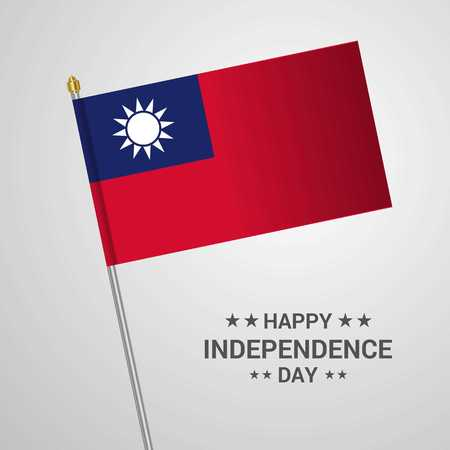 Taiwan Independence day typographic design with flag vector