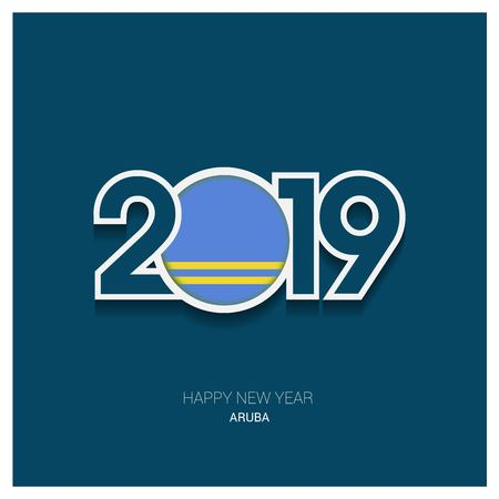 2019 Aruba Typography, Happy New Year Background