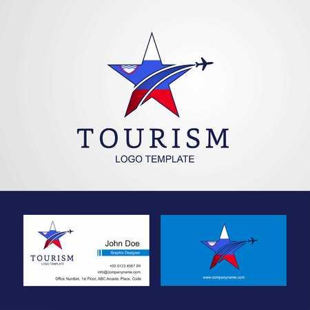 Travel Slovenia flag Creative Star Logo and Business card design