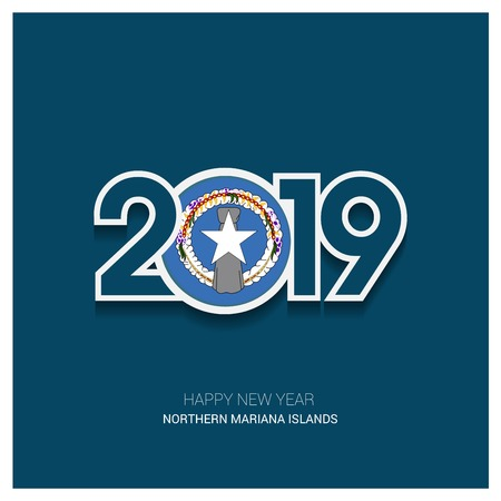 2019 Northern Mariana Islands Typography, Happy New Year Background Çizim
