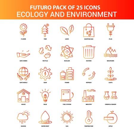 Orange Futuro 25 Ecology and Enviroment Icon Set