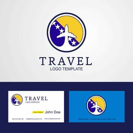 Travel Bosnia and Herzegovina Creative Circle flag Logo and Business card design