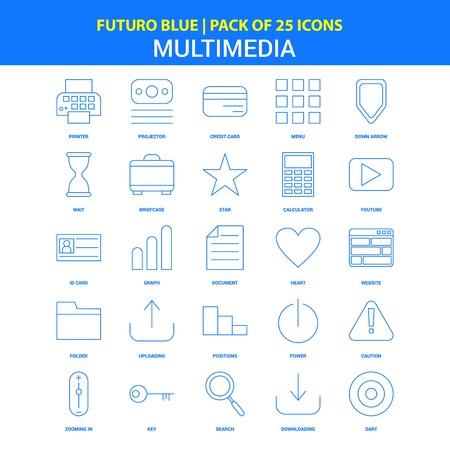 Multimedia Icons - Futuro Blue 25 Icon pack