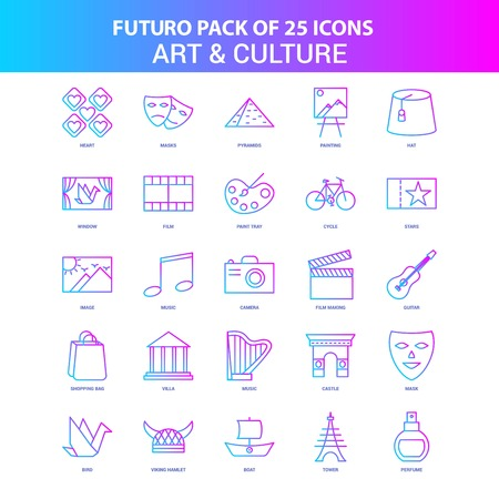 25 Blue and Pink Futuro Art and Culture Icon Pack