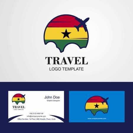 Travel Ghana Flag Logo and Visiting Card Design
