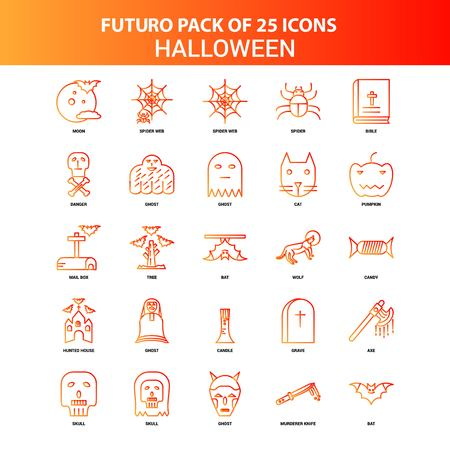 Orange Futuro 25 Halloween Icon Set Ilustrace