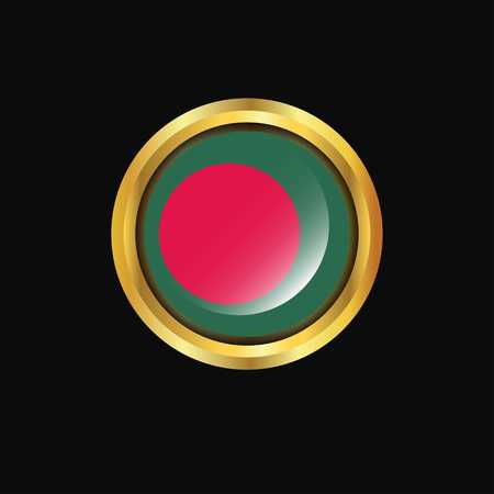 Bangladesh flag Golden button
