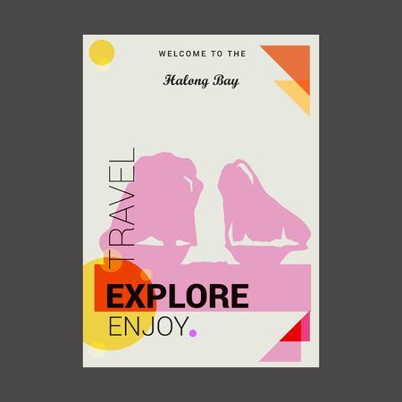 Willkommen in der Halong-Bucht Ha Long, Vietnam Erkunden, Reisen Genießen Sie Poster-Vorlage Vektorgrafik