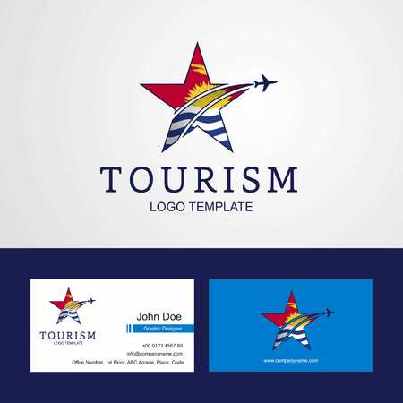 Travel Kiribati flag Creative Star Logo and Business card design