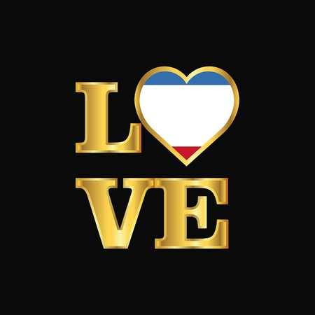 Love typography Crimea flag design vector Gold lettering Illusztráció