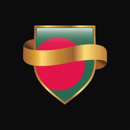 Bangladesh flag Golden badge design vector