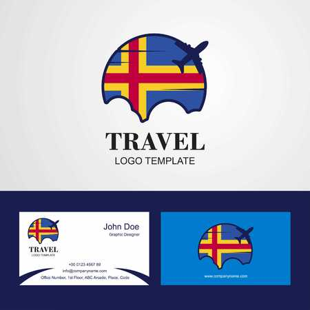 Travel Aland Flag Logo and Visiting Card Design