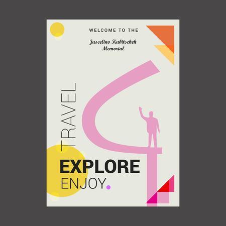 Welcome to The Juscelino Kubitschek Memorial Eixo Monumental, Brasília Explore, Travel Enjoy Poster Template 矢量图像