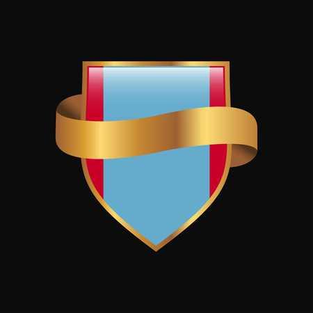 Mongolia flag Golden badge design vector