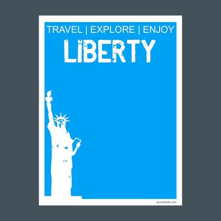 Liberty NewYork , USA monument landmark brochure Flat style and typography vector