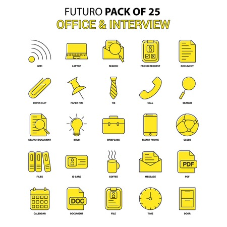 Office and Interview Icon Set. Yellow Futuro Latest Design icon Pack Illustration