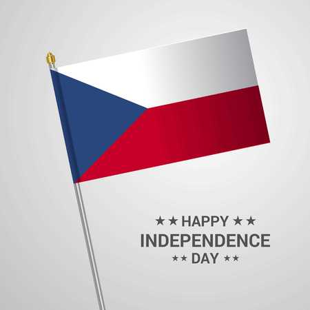 Czech Republic Independence day typographic design with flag vector