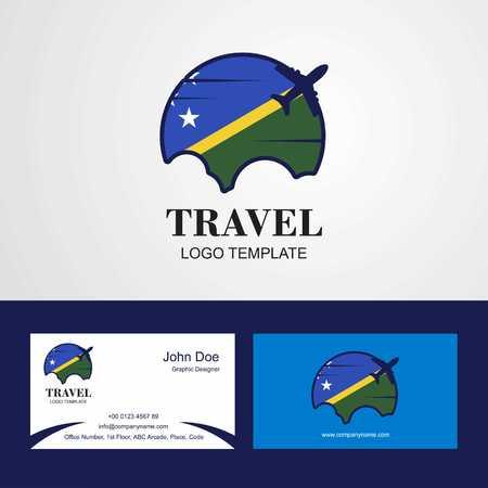 Travel Solomon Islands Flag Logo and Visiting Card Design