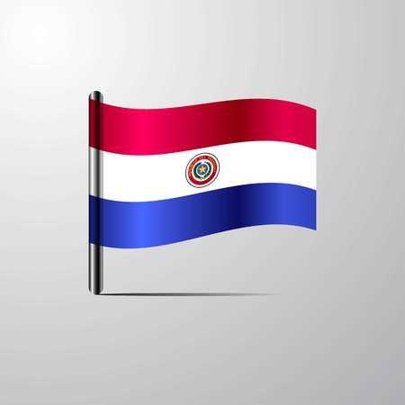 Paraguay waving Shiny Flag design vector Illustration
