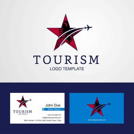 Travel Albania flag Creative Star Logo and Business card design