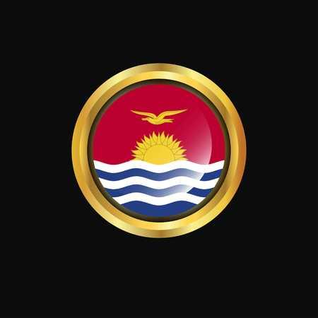Kiribati flag Golden button