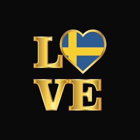 Love typography Sweden flag design vector Gold lettering  イラスト・ベクター素材