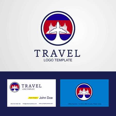 Travel Cambodia Creative Circle flag Logo and Business card design