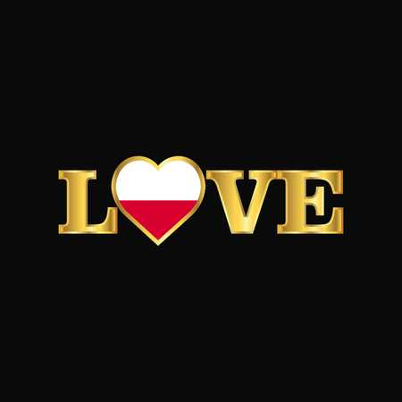 Golden Love typography Poland flag design vector Ilustrace