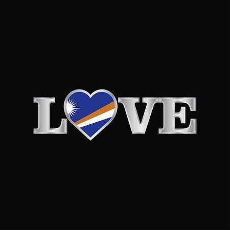 Love typography with Marshall Islands flag design vector Çizim