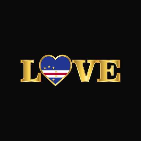 Golden Love typography Cape Verde flag design vector