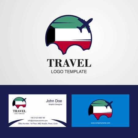 Logo de drapeau du Koweït de voyage et conception de carte de visite