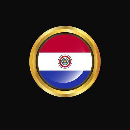 Paraguay flag Golden button