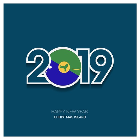 2019 Christmas island Typography, Happy New Year Background