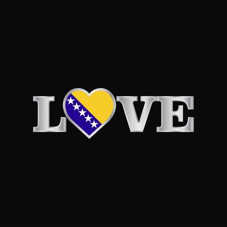 Love typography with Bosnia and Herzegovina flag design vector