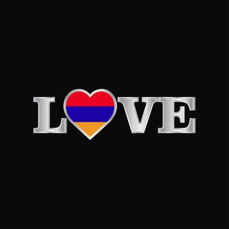 Love typography with Armenia flag design vector