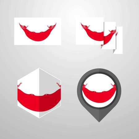 Ecuador flag design set vector