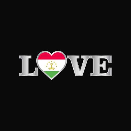 Love typography with Tajikistan flag design vector