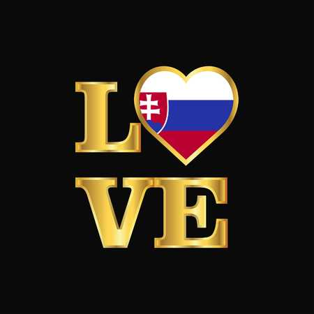 Love typography Slovakia flag design vector Gold lettering