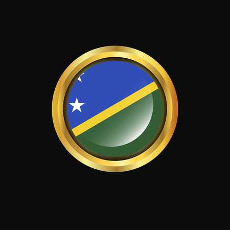 Solomon Islands flag Golden button