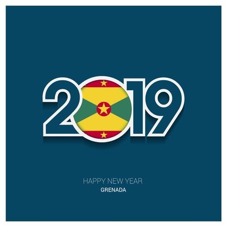 2019 Grenada Typography, Happy New Year Background Royalty
