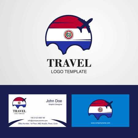 Travel Paraguay Flag Logo and Visiting Card Design